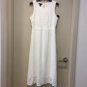 Alfani white cloud lasercut lace midi dress NWT